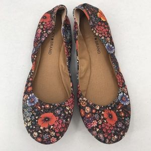 Lucky Brand Floral Emmie Leather Flats / Shoes New